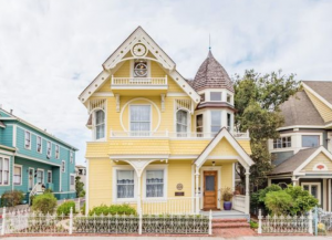 Yellow house with historic roof