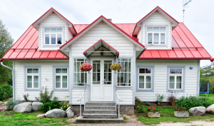vinyl siding metal roof single family home