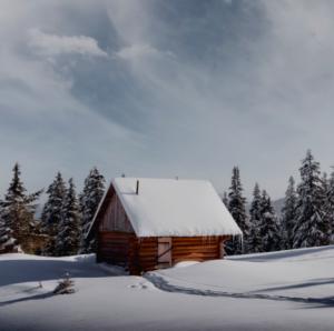 heavy snowfall on house