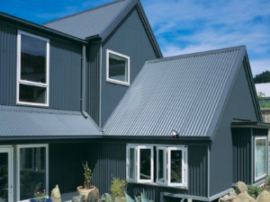 Metal roof on grey house