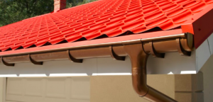Red shingles and gutter