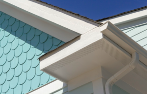 White soffit on blue house