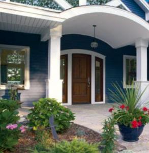 Plygem soffit on blue house