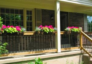 Planter boxes on porch