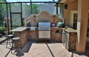 Outdoor kitchen with gas grill
