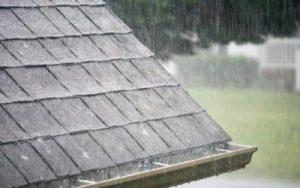 Rain on asphalt roof