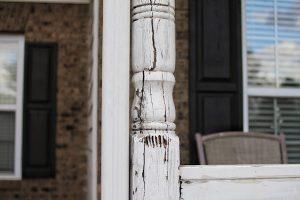 Broken porch post