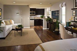 Open floor plan suite