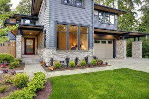 Foundation of grey house