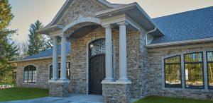 Stone veneer facade