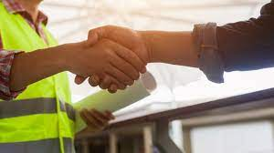 Shaking hand with contractor