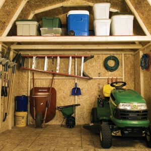 Lawnmower in shed