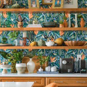 Wallpaper on kitchen shelf
