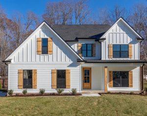 white batten striped home